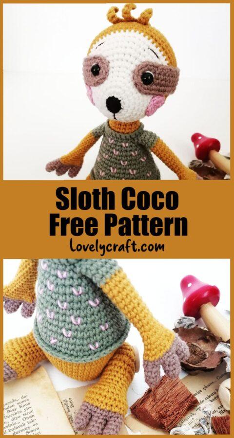 Sloth coco amigurumi toy free crochet pattern