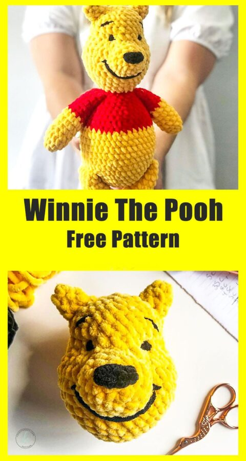 Winnie the pooh bear cartoon character amigurumi free pattern