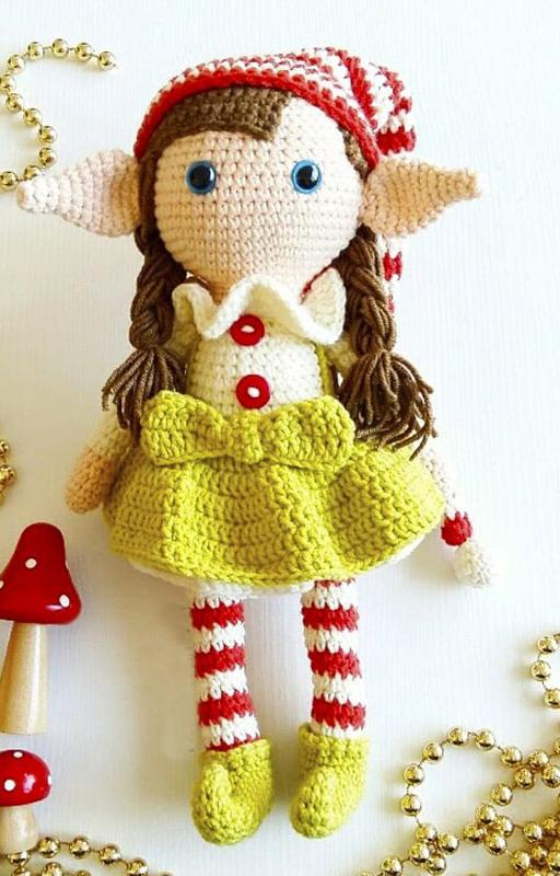 Crochet Elf Berry Christmas Doll Amigurumi Free Pattern (6