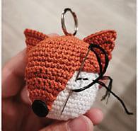 Fox lip balm case keychain crochet pattern