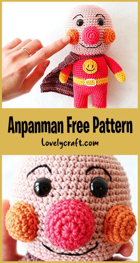 Comic Hero Anpanman Crochet Pattern, anime hero anpanman character amigurumi pattern