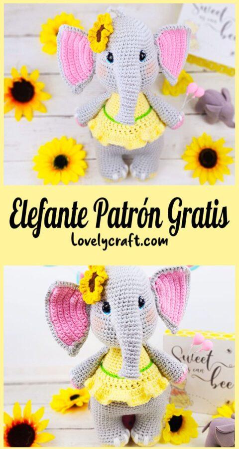 Lindo Sunny el Elefante Amigurumi Patrón Gratis