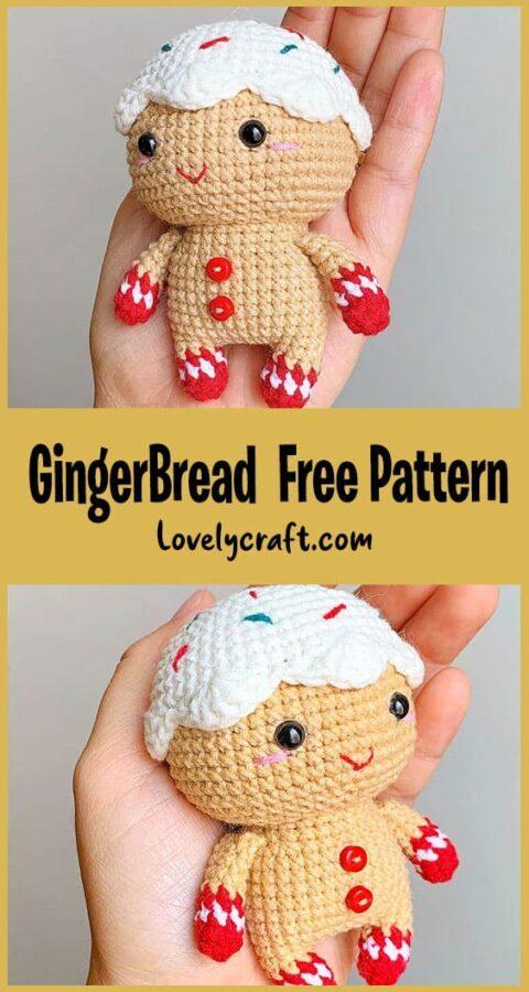 gingerbread amigurumi pattern, gingerbread amigurumi keychain pattern