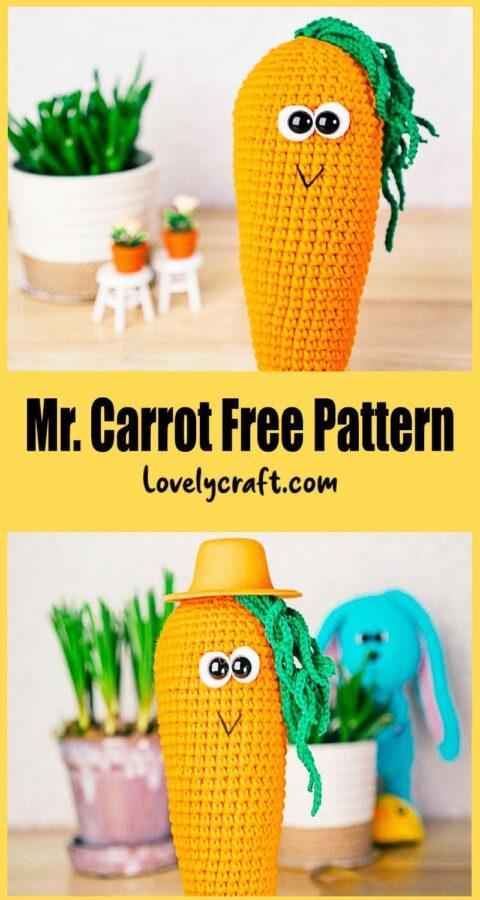 Mr. Carrot Amigurumi Crochet Free Pattern