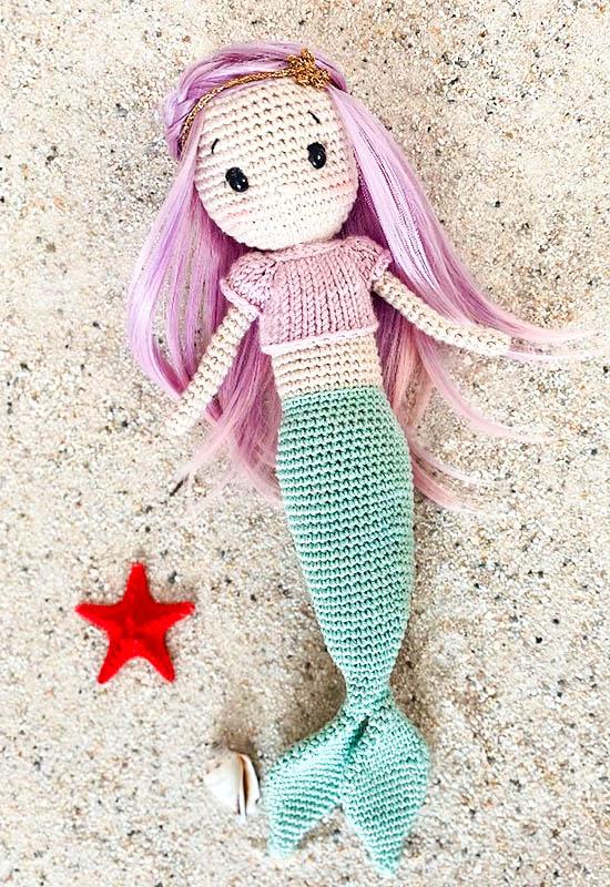 mermaid crochet doll amigurumi free pattern