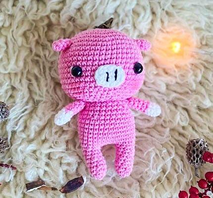 Pink Pig Keychain Amigurumi Crochet Pattern, pig keychain pattern,