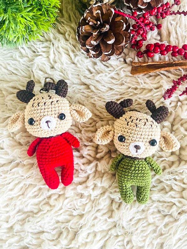 Deer keychain amigurumi pattern, deer keychain, crochet keychain free pattern