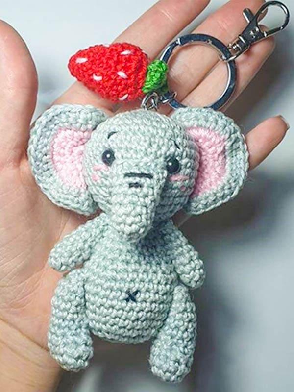 elephant keychain amigurumi pattern, elephant amigurumi pattern