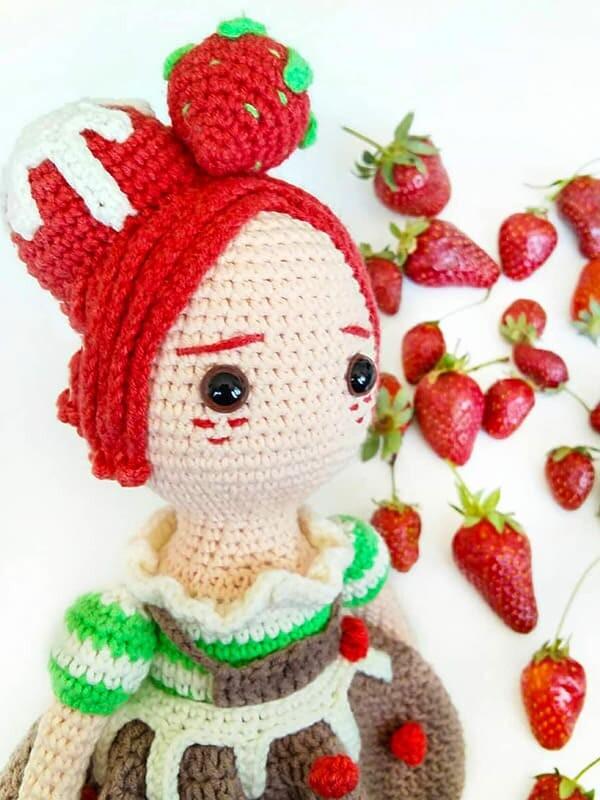 Strawberry Fairy Crochet Doll Amigurumi Pattern (1)