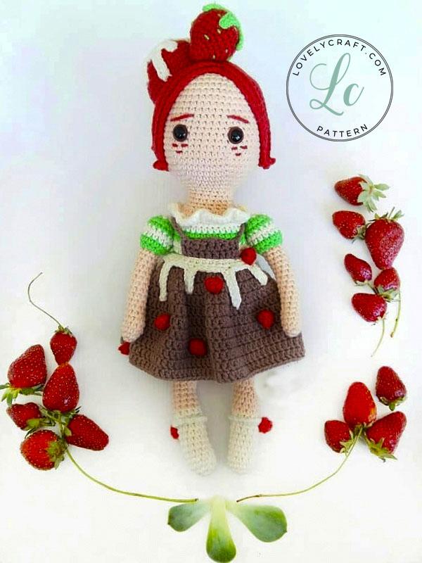 Strawberry Fairy Girl Muig Doll Amigurumi Crochet Pattern