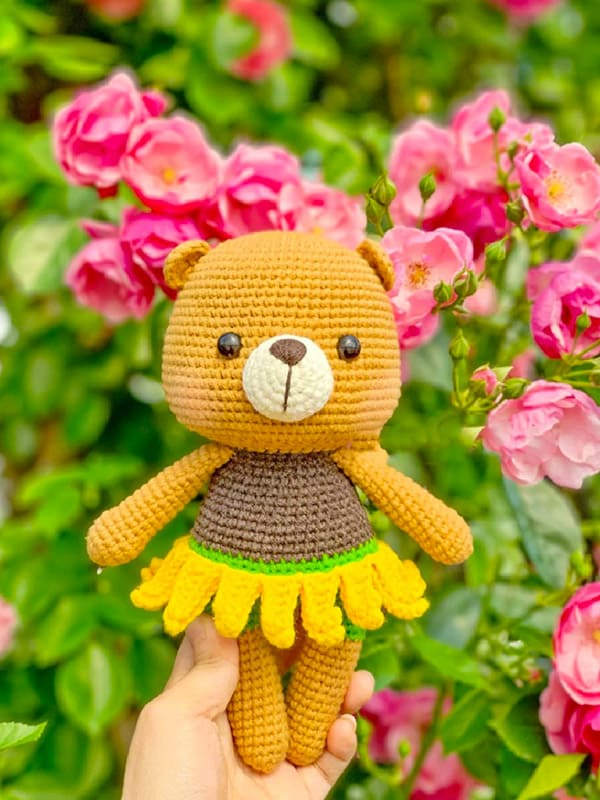 sunflower bear, bears, cute, happy