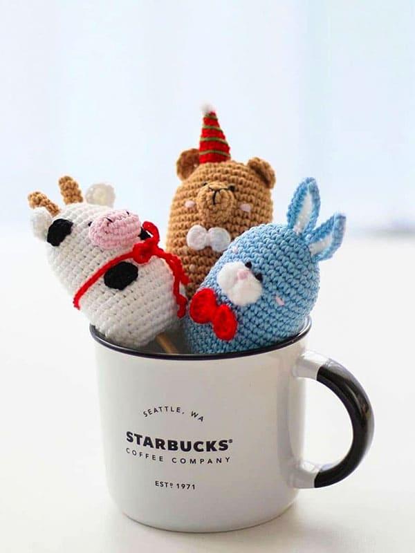 funny, icecream, bunny, bear, cow, cup, sweet