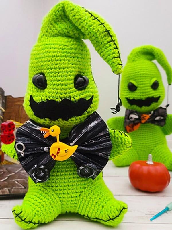 green, gosht, amigurumi, pattern, crochet, oogie boogie, noel, christmas, xmas, merry christmas, head