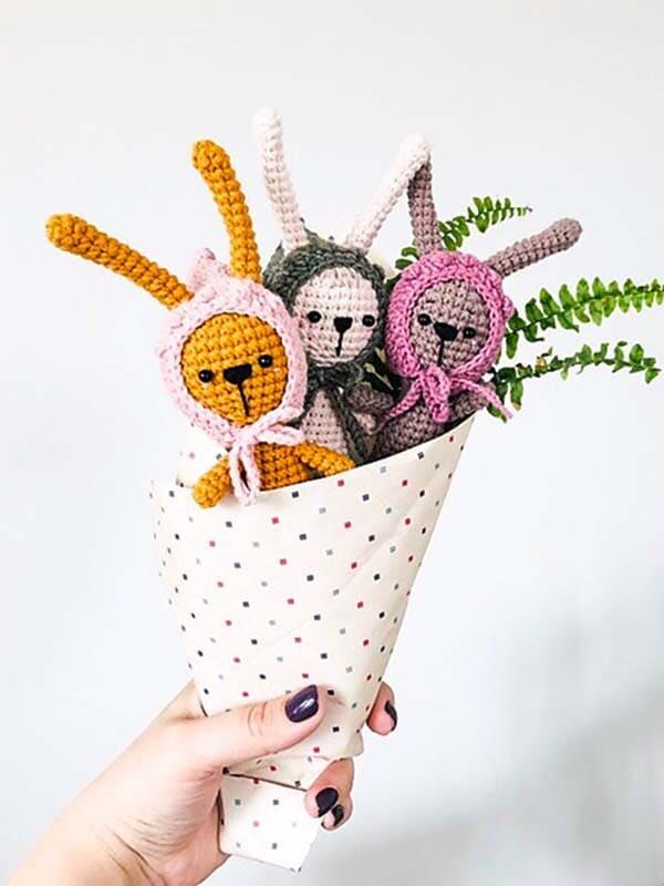 teeny, weeny, bunny, amigurumi, crochet, pattern, cute, gift, head