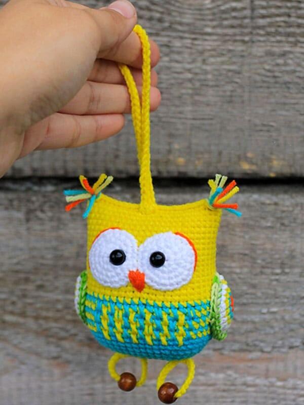 the, owl, rattle, amigurumi, crochet, pattern, gift, bird, summer, body