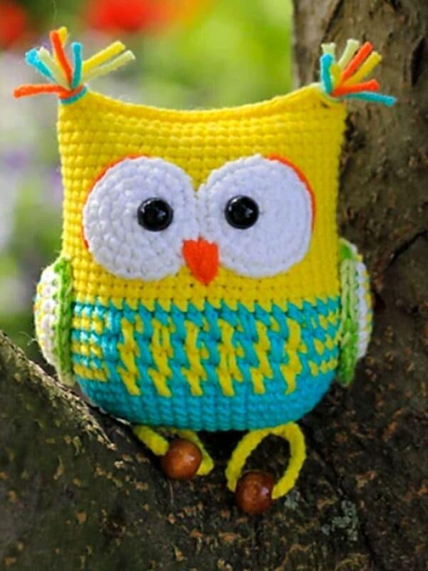 the, owl, rattle, amigurumi, crochet, pattern, gift, bird, summer, eyes,