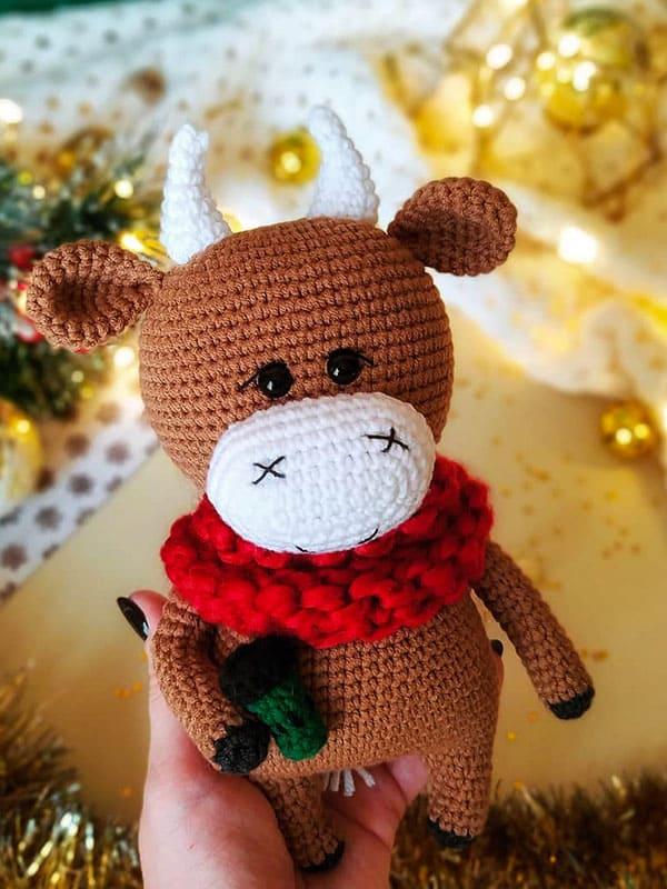 willy, bull, cute, winter, christmas, body