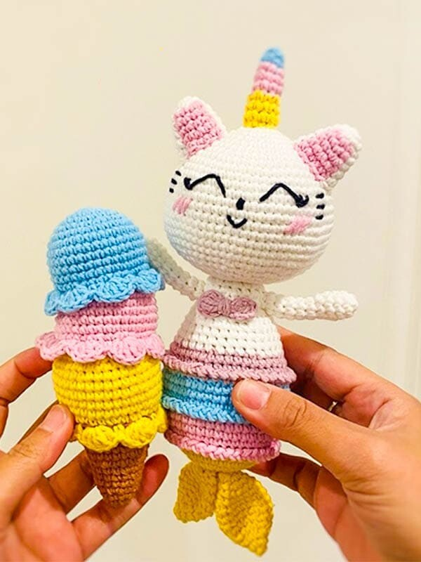 crochet unicorn mermaid kitty pattern, amigurumi unicorn mermaid