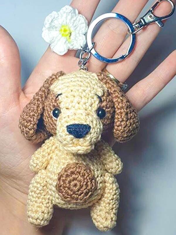 crochet dog keychain, crochet dog bag keychain