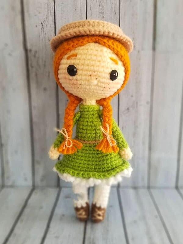 anne, shirley, amigurumi, crochet, pattern, doll, baby, cute, spring, gift, christmas, halloween, body, dress