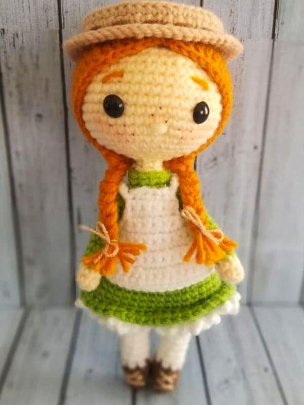 anne, shirley, amigurumi, crochet, pattern, doll, baby, cute, spring, gift, christmas, halloween, hat