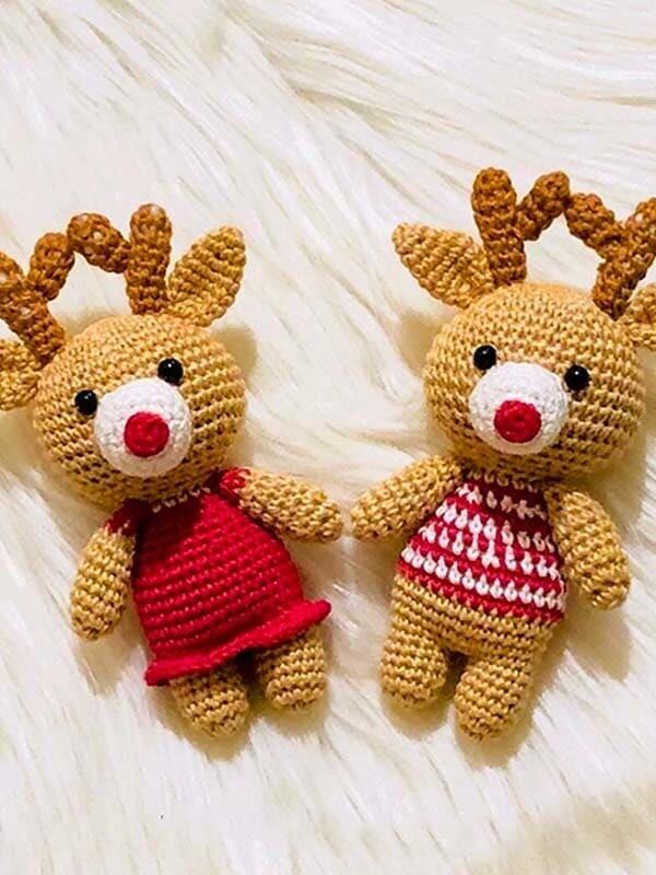 reindeer, couple, amigurumi, crochet, pattern, free pattern, christmas, noel, new year, xmas, head, body, arms