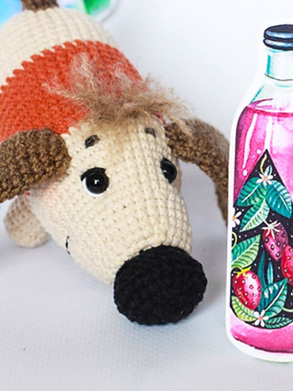 sirup, puppy, amigurumi, crochet, pattern, cute, gift, christmas, halloween, dog, dogs, animal, animals, nose