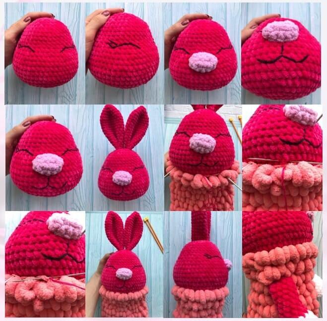 Crochet Bunny pajamas Amigurumi Free Pattern assembly