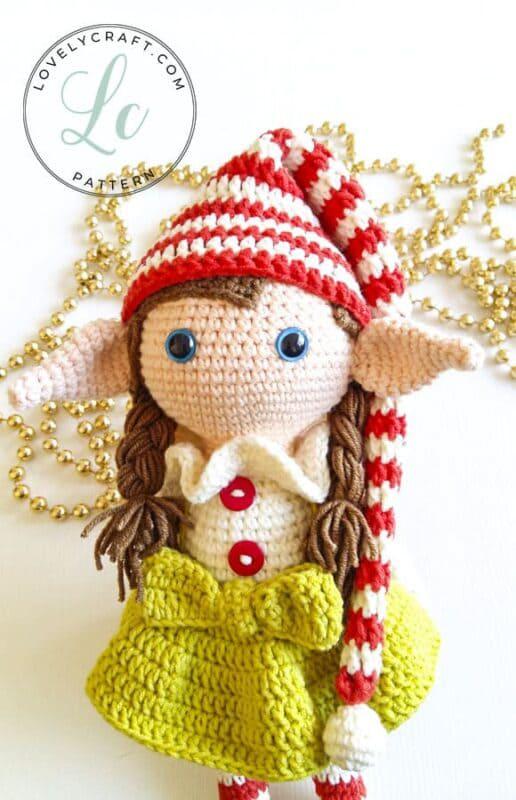 Crochet Elf Berry Christmas Doll Amigurumi Free Pattern (2)