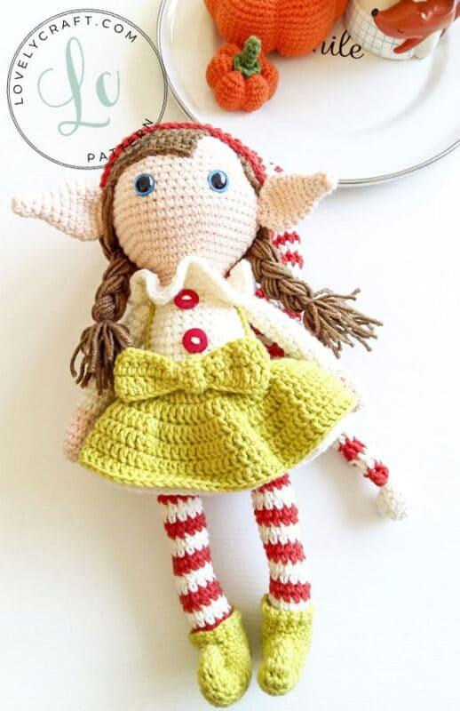 Crochet Elf Berry Christmas Doll Amigurumi Free Pattern (5)