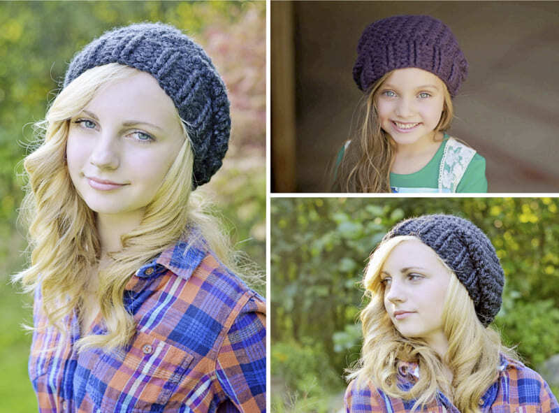 Crochet Slouchy Hat for Women and Kids PDF Pattern