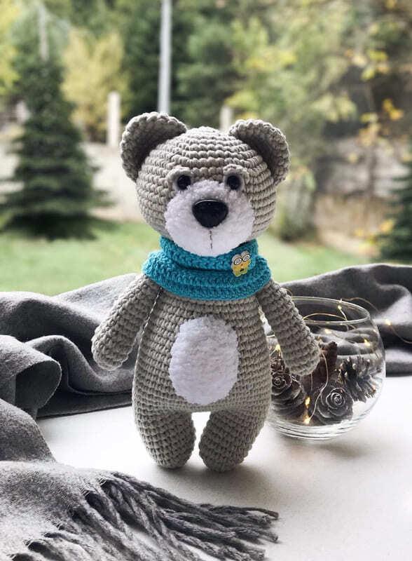 Cute Crochet Teddy Bear with Snood Amigurumi Free Pattern (2)